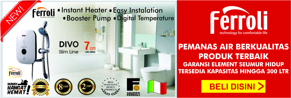 ferroli water heater instan pemanas air kamarmandiku