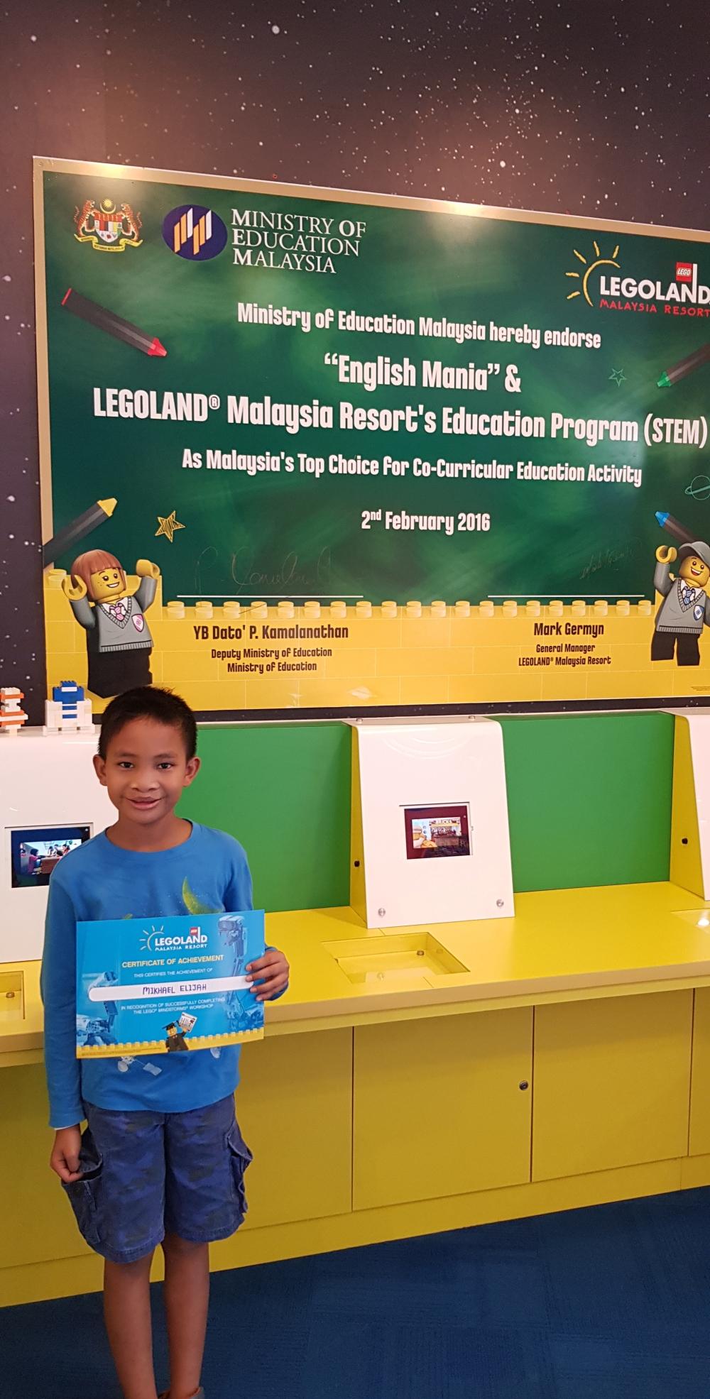 sertfikat legoland permainan anak kelas robotic janganmenyerah